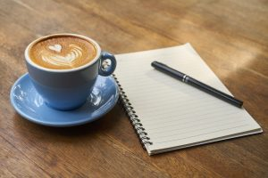 cofee and writing session as part of 8 tips to having a productive morning routine for work
