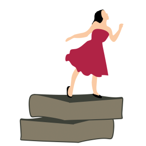 girl in a red dress trying to go higher